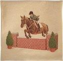 Kudde med häst hopp mur